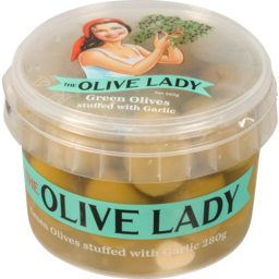 Photo of The Olive Lady Green Olives with Garlic 280g