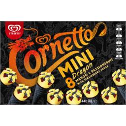 Photo of Streets Cornetto Mango & Passionfruit With Raspberry Sauce Mini Dragon 8 Pack 440ml