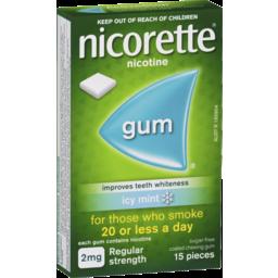 Photo of Nicorette Quit Smoking Gum Regular Strength 2mg Icy Mint 15 Pack