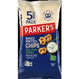 Photo of Parker Sour Cream & Chive Baked Pretzel Chip 5 Pack 125g