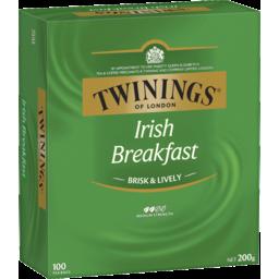 Photo of Twinings Irish Breakfast Medium Strength Tea Bag 100 Pack 200g
