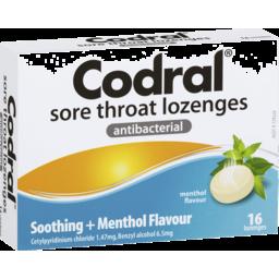 Photo of Codral Sore Throat Lozenges Antibacterial Menthol 16 Pack