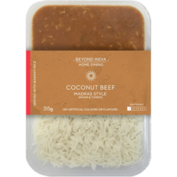 Photo of Beyond India Home Dining Madras Style Coconut Beef & Rice 315g