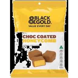 Photo of Black & Gold Choc Coated Honeycomb 150gm