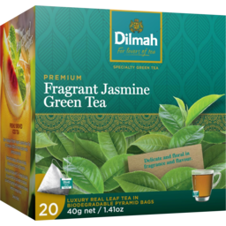 Photo of Dilmah Premium Fragrant Jasmine Green Tea Pyramis Bags 20 Pack 40g