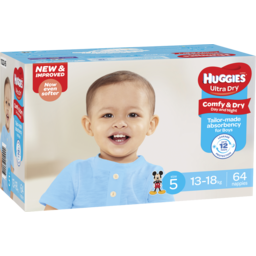 Photo of Huggies Ultra Dry Nappies, Boys, Size 5 Walker (13 - 18kg), 64 Nappies
