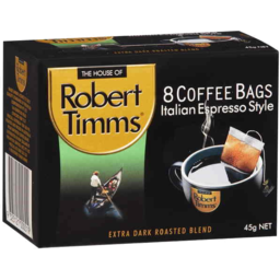 Photo of Robert Timms 8 Coffee Bags Italian Espresso Style 45g