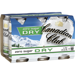 Photo of Canadian Club Zero Sugar Dry Can 375ml 6 Pack