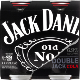 Photo of Jack Daniel's Double Jack Cola Can 4x375ml