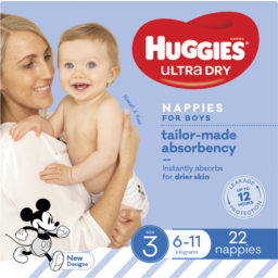 Photo of Huggies Ultra Dry Nappies Boy Size 3 (6-11kg) 22 Pack
