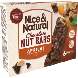 Photo of Nice&Natural Chocolate Nut Bars Apricot 6pk 180g 180g