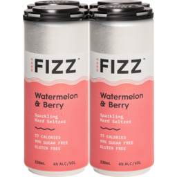 Photo of Hard Fizz Watermelon & Berry Seltzer Cans - 4 X 330ml