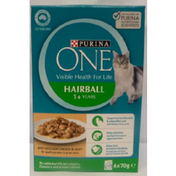 Photo of Purina One Hairball Pet Food With Succulent Chicken 6 Pack 70g