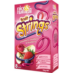 Photo of Nice & Natural Fruit Snacks Strings Strawberry Raspberry Blueberry 136g