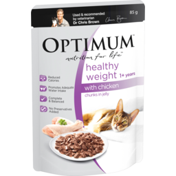 Photo of Optimum Healthy Weight Wet Cat Food Chicken In Jelly 85g Pouch