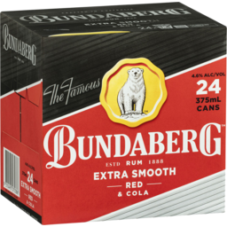 Photo of Bundaberg Rum Extra Smooth Red & Cola Can 375ml 24 Pack