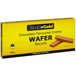 Photo of Black & Gold Choc Cream Wafers 125gm