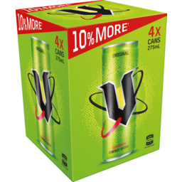 Photo of V Energy Drink 4 X 275ml Cans