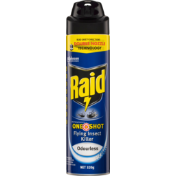 Photo of Raid One Shot Odourless Flying Insect Killer Double Nozzle Spray Aerosol 320g