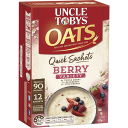 Photo of Uncle Tobys Oats Quick Sachets Berry Variety 420g