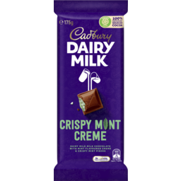 Photo of Cadbury Dairy Milk Crispy Mint Creme Milk Chocolate Block 175g