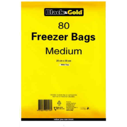 Photo of Black & Gold Freezer Bags Medium 80