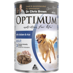 Photo of Optimum Adult With Chicken & Rice Wet Dog Food Can 400g