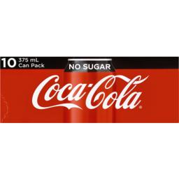 Photo of Coca-Cola Tm Coca-Cola No Sugar Soft Drink Multipack Cans 10x375ml