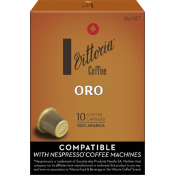 Photo of Vittoria Coffee Compatible* Oro Capsules 52g