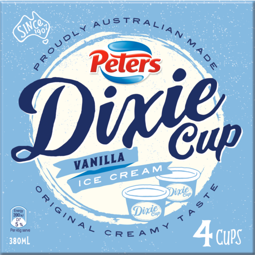 Peters Dixie Cup Vanilla Ice Creams 4 Pack 380ml