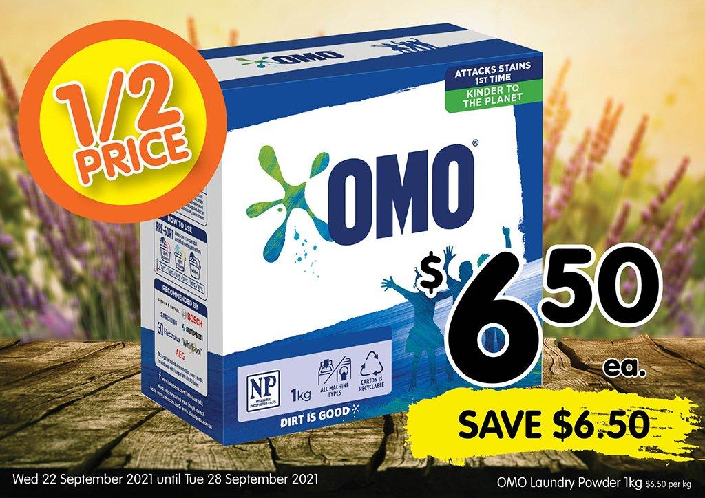 Image of OMO Laundry Powder 1kg at $6.50 each half price