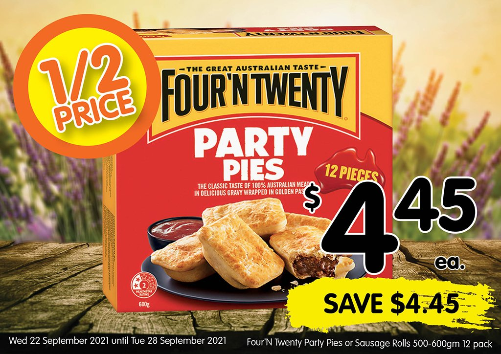 Image of Four'N Twenty Party Pies or Sausage Rolls 500-600gm 12 pack at $4.45 each