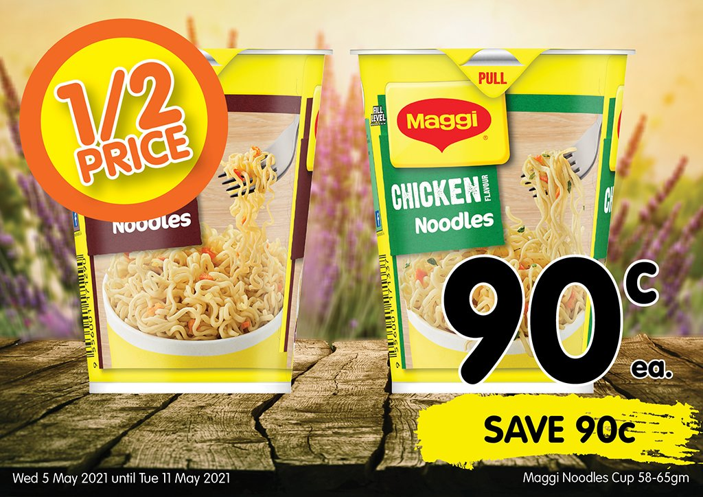 Image of Maggi Noodles Cup 58-65gm at 90 cents each