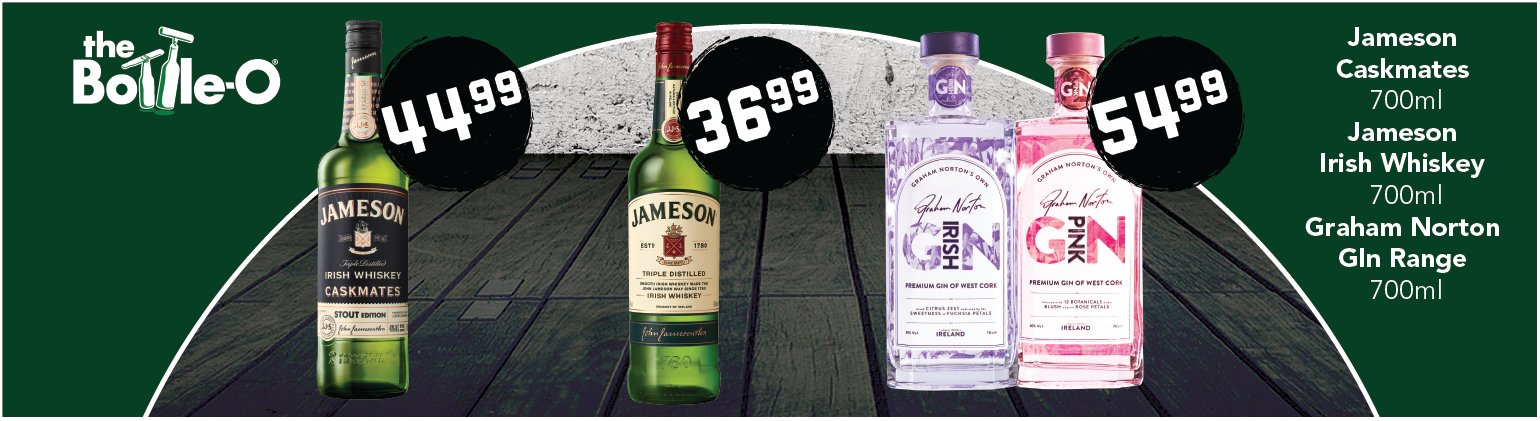 Image showing Jameson Whiskey and Graham Norton Gin at reduced prices
