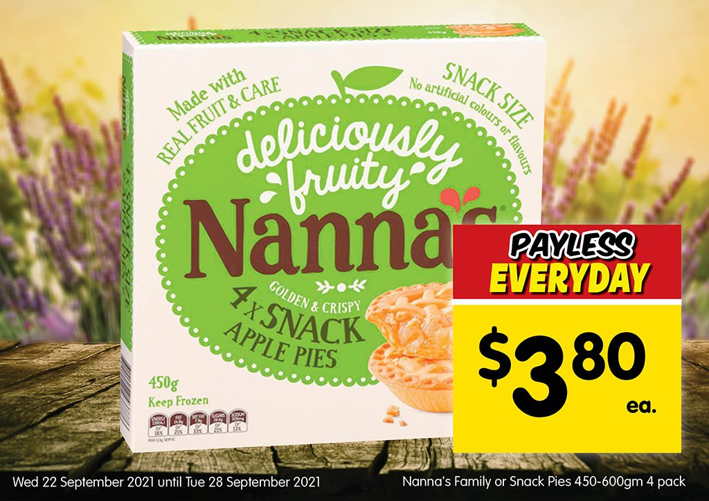 Image of Nanna's Family or Snack Pies 450-600gm 4 pack at $3.80 each