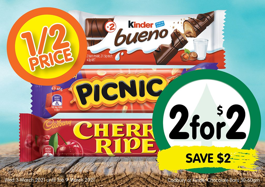 Image of Cadbury or Kinder Chocolate Bars 30-60gm at 2 for $2.00 - half price