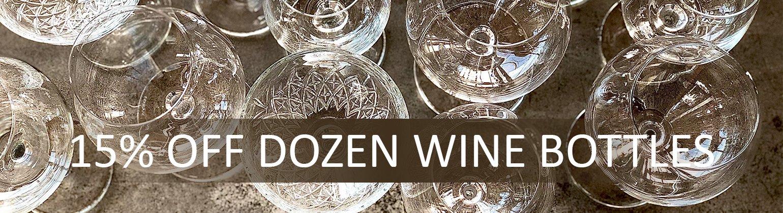 15% off Dozen wine bottles