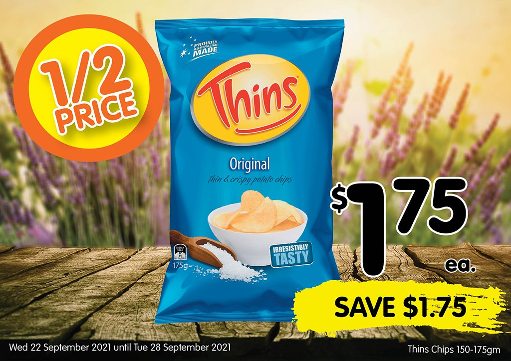Image of Thins Chips 150-175gm at $1.75 each half price