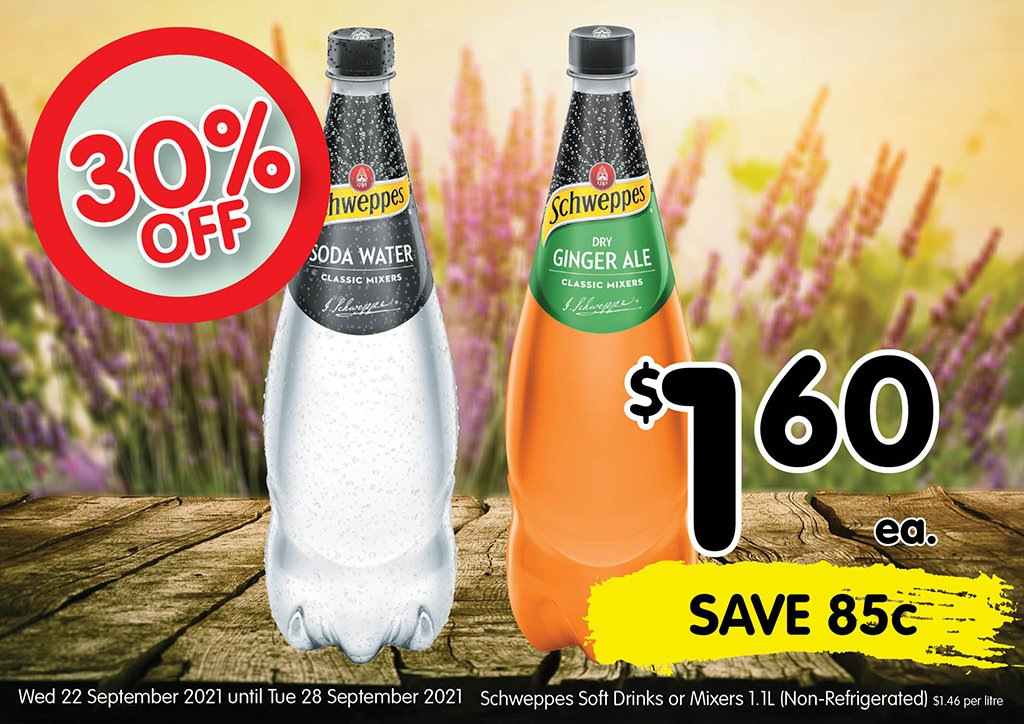 Image of Schweppes Soft Drink or Mixers 1.1l (non-refrigerated) at $1.60 each