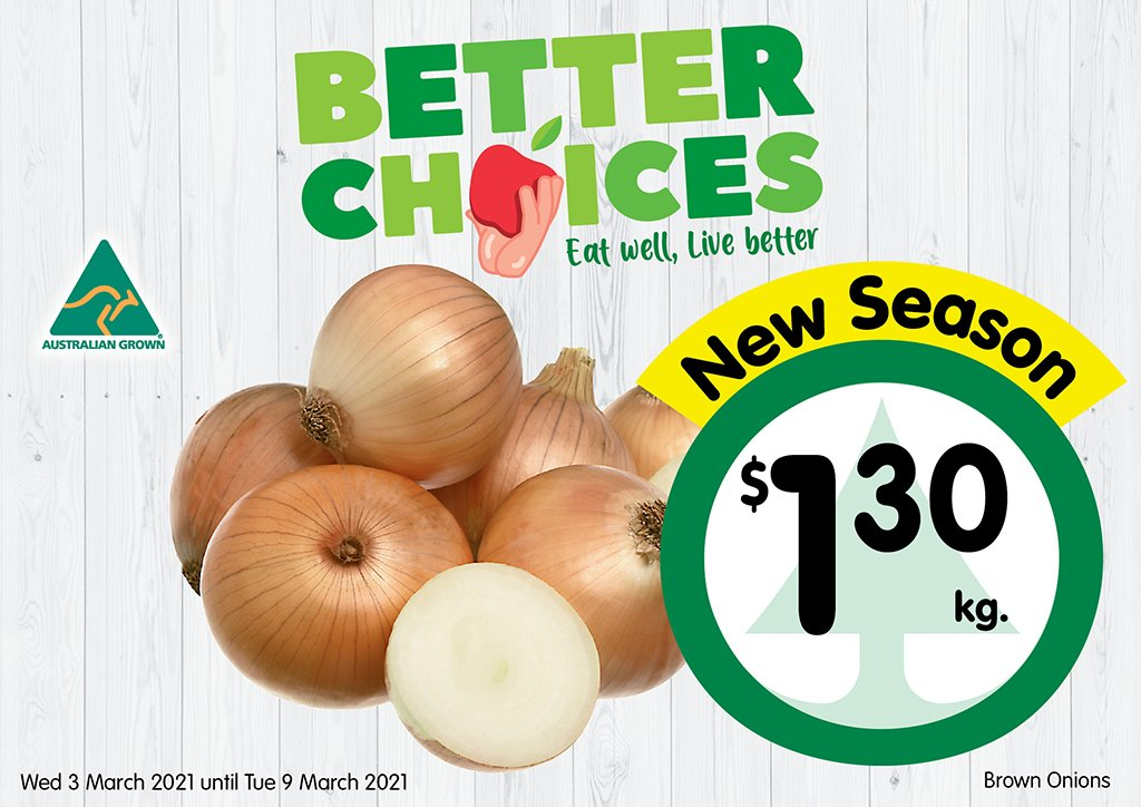 Image of Brown Onions at $1.30 per kg