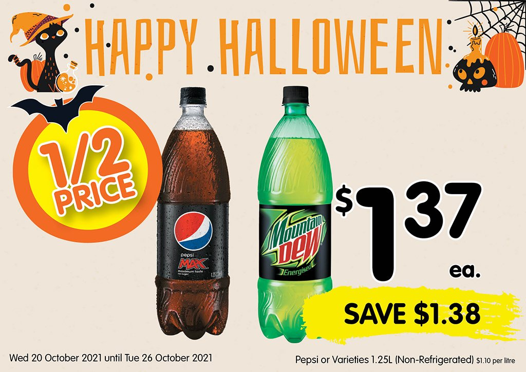 Image of Pepsi or Varieties 1.25 Litre (non-refrigerated) at $1.37 each half price