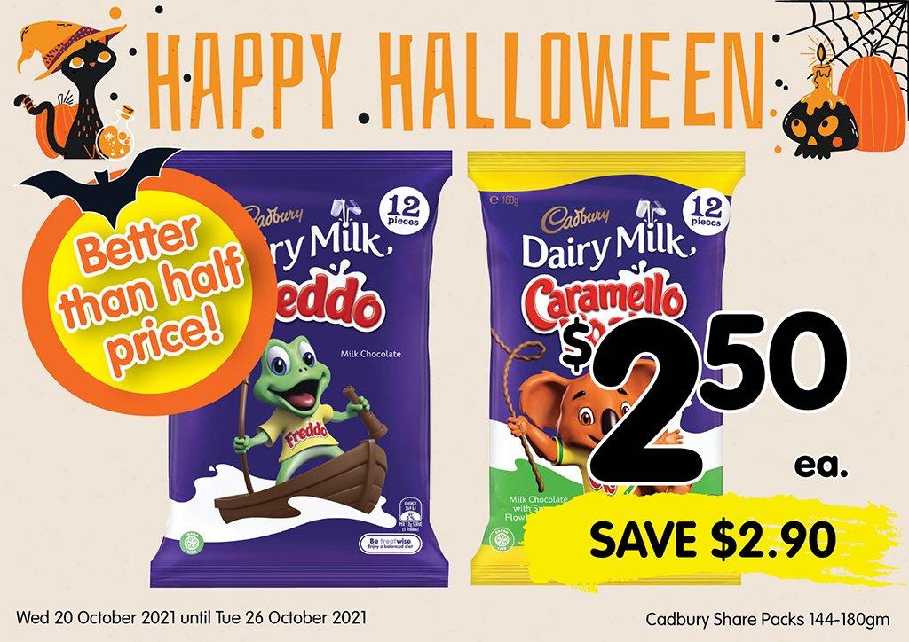 Image of Cadbury Share Packs 144-180gm at $2.50 each