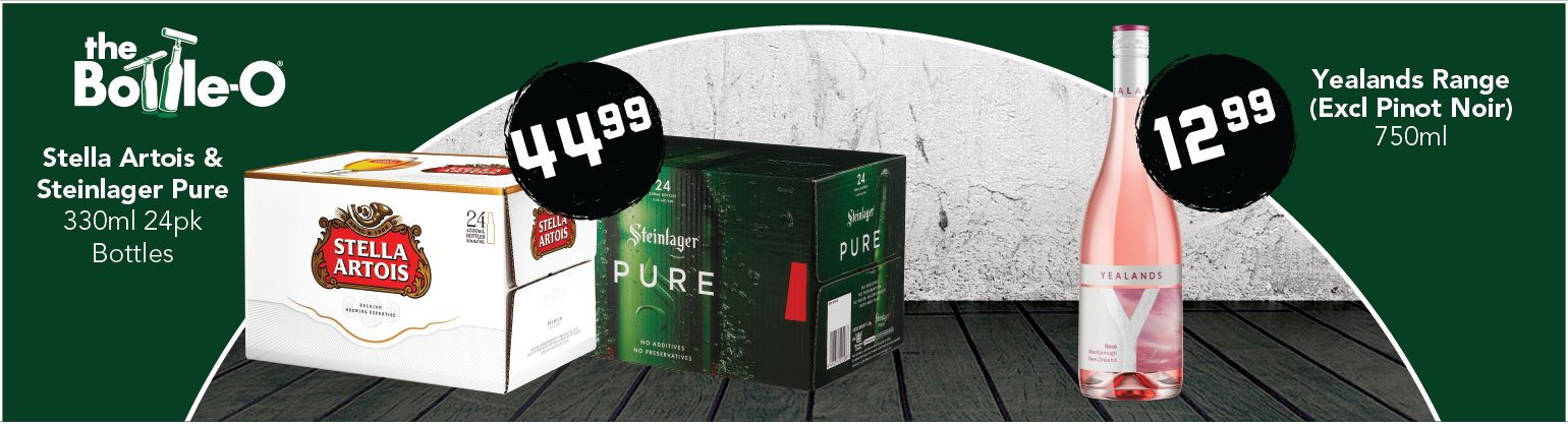 Image showing Stella Artois, Steinlager Pure and Yealands wine range at reduced prices