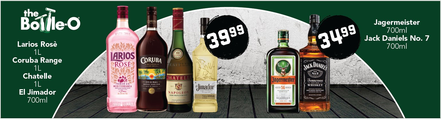 Image showing the Larios Rose, Coruba, Chatelle, El Jimador, Jagermeister and Jack Daniels product bundles from Bottle-O