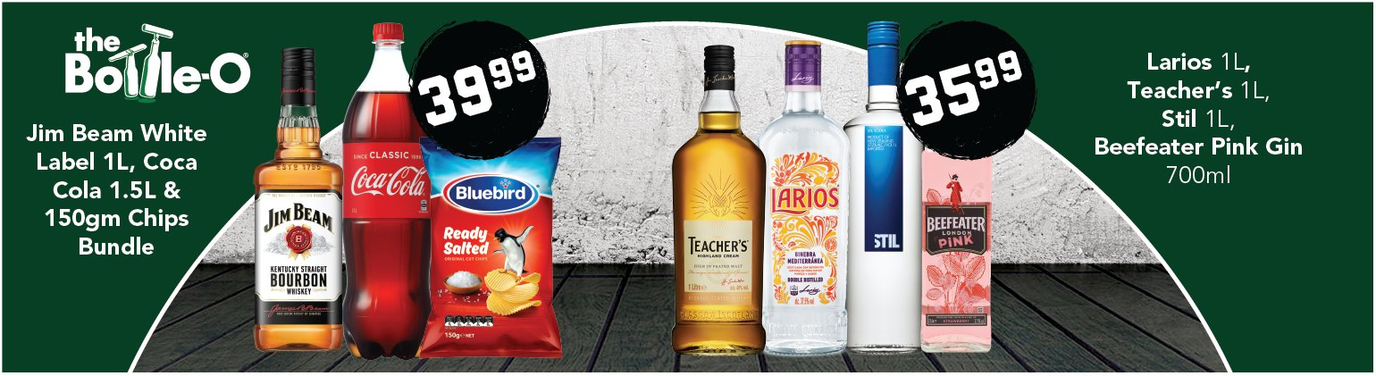 Image showing Jim Beam White Label, Coca Cola and 150gm chips bundle, plus Larios, teacher's and Beefeater Pink Gin product bundles