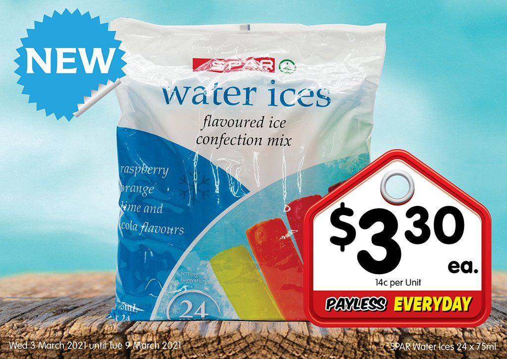 Image of SPAR Water Ices 24 x 75ml at $3.30 each