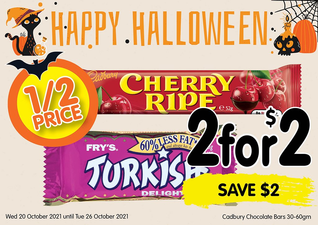 Image of Cadbury Chocolate bars 30-60gm at 2 for $2 half price special
