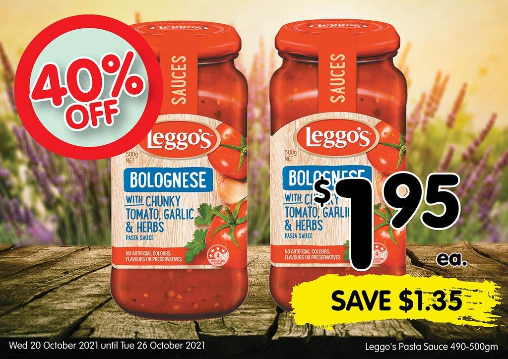 Image of Leggo's Pasta Sauce 490-500gm at $1.95 each