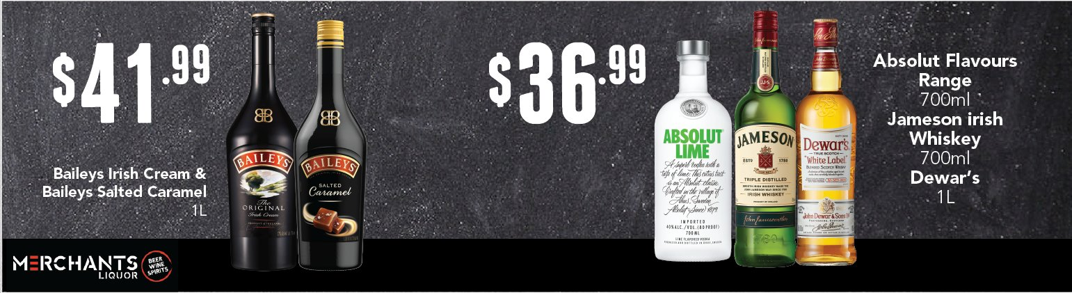 Image showing Bailey's Original and Caramel, plus Absolut Lime Vodka, Jameson Whiskey and Dewar's White Label Whisky at reduced prices