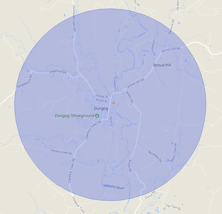 Dungog Township delivery - 5km Radius from Dungog Post Office